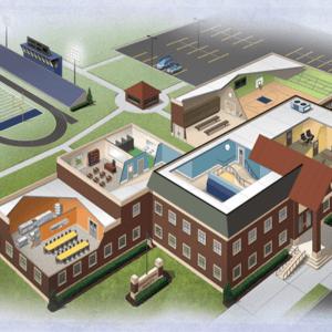 Photo of school 3D rendering