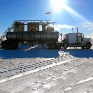 Photo of oil field truck in winter